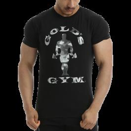 Golds Gym, Camo Joe Printed T-Shirt -Black